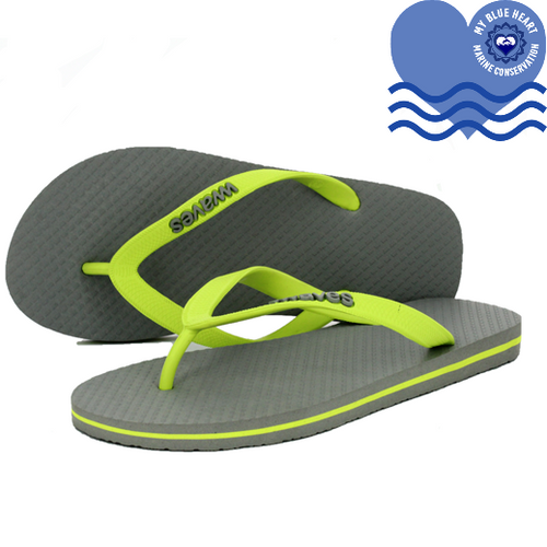 100% Plastic Free Natural Rubber Flip Flops - Unisex Grey with Lime Line