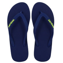 Load image into Gallery viewer, 100% Plastic Free Natural Rubber Flip Flops - Unisex Navy with Lime Line - My Green Heart