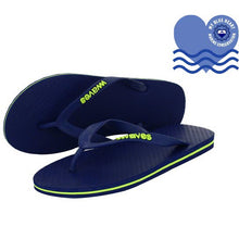 Load image into Gallery viewer, 100% Plastic Free Natural Rubber Flip Flops - Unisex Navy with Lime Line
