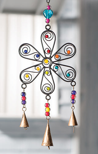 Recycled Iron Flower Windchime with Mixed Beads - My Green Heart