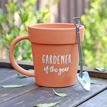 Load image into Gallery viewer, Gardener of the Year Pot Mug and Shovel Spoon - My Green Heart