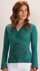 Cotton Jersey Top with Mandala Embroidery - 3 colours available - My Green Heart