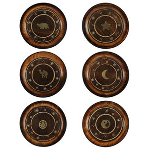 Mango Wood Round Plate Incense Holder with Brass Inlay