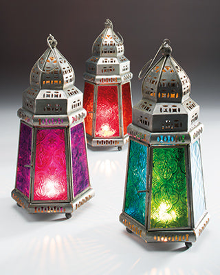 Pyramid Shape Morrocan Glass Lantern - My Green Heart