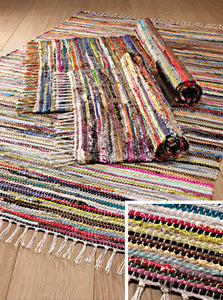 Multi Colour Recycled Cotton Rag Rug 100 x 164cms - My Green Heart