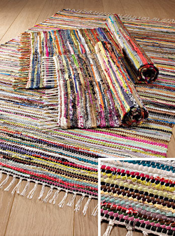 Multi Colour Recycled Cotton Rag Rug 180 x 180cms - My Green Heart