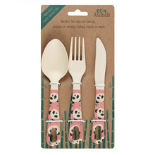 Load image into Gallery viewer, Penelope Panda Bamboo Cutlery Set - My Green Heart