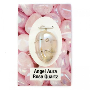 Wire Wrap Silver Pendant - Angel Aura Rose Quartz - My Green Heart