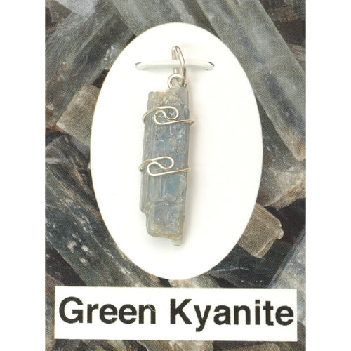 Wire Wrap Silver Pendant - Green Kyanite - My Green Heart