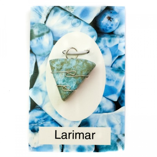 Wire Wrap Silver Pendant - Larimar - My Green Heart