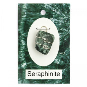 Wire Wrap Silver Pendant - Seraphinite - My Green Heart