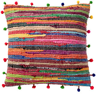 Recycled Rag Rug Cushion with Pom Poms - My Green Heart