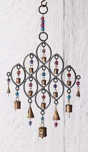Recycled Iron Windchime with Bells and Beads - My Green Heart