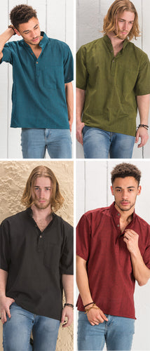Cotton Khaddar Short Sleeve Shirt - 4 colours available - My Green Heart