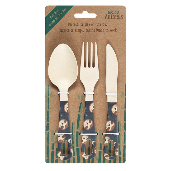 Sidney Sloth Bamboo Cutlery Set - My Green Heart