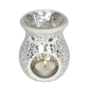 Small Silver Crackle Oil Burner - My Green Heart