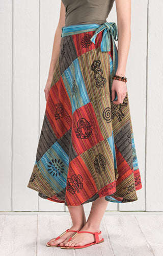 Cotton Patchwork Wrap Around Skirt - My Green Heart