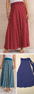 Wrap Stripe Cotton Maxi Skirt - 3 colours available - My Green Heart