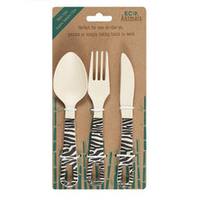 Load image into Gallery viewer, Ziggy Zebra Bamboo Cutlery Set - My Green Heart