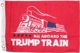 All Aboard The Trump Train Red Double Sided Flag- 12''X18''  Rough Tex®