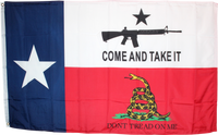Texas Come And Take It Don't Tread On Me Combo Flag 3'x5' 100D Flag Rough Tex ®