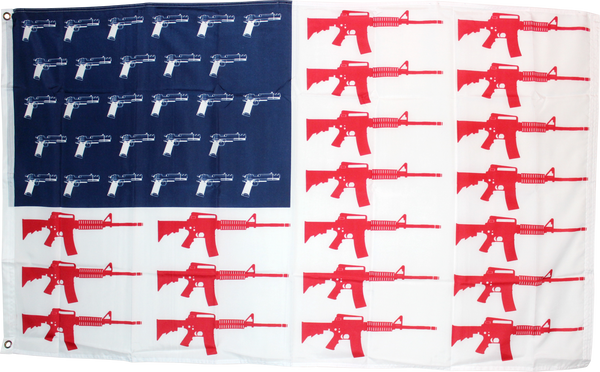 USA Guns Red White And Blue  3'X5' Flag ROUGH TEX ®68D