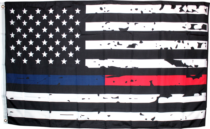 USA Memorial Police Fire Department Distressed Flag 3'x5' 100D Flag Rough Tex ®