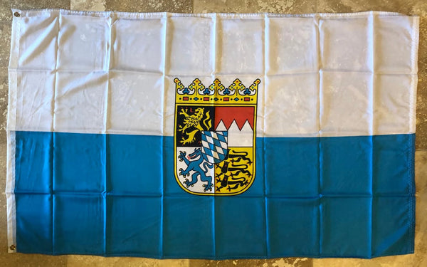 Bavaria Crest Coat of Arms Blue & White Stripes Bavarian Royal 3x5 Feet 100D Flag Rough Tex ® UV Protected & Waterproof