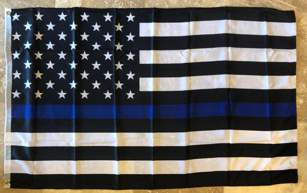 US Police Memorial Thin Blue Line 4'X6' Flag Super Polyester