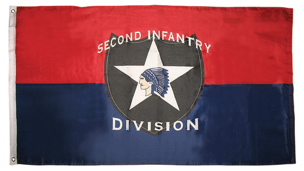 2nd Infantry Division Indian Head 3'X5' Flag Rough Tex® Super Polyester