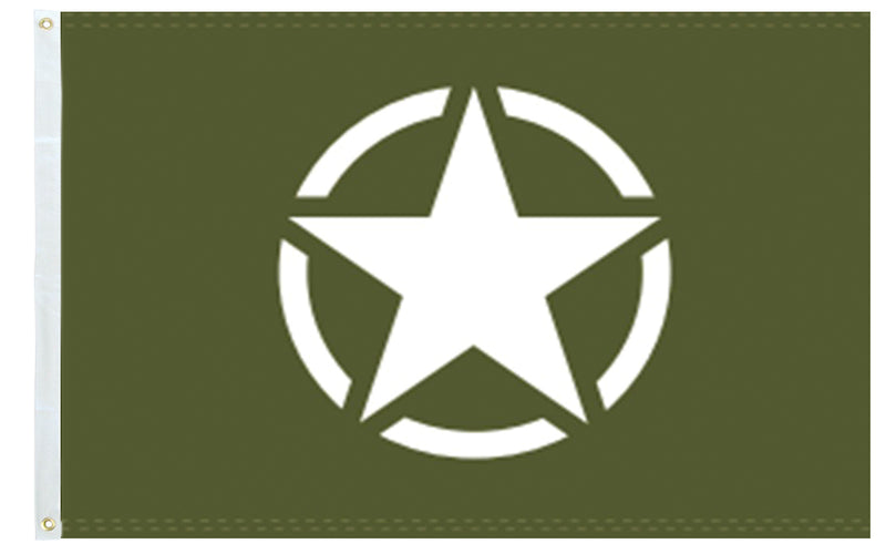 World War II Military Issue Olive Star 3'X5' Flag Rough Tex® 100D