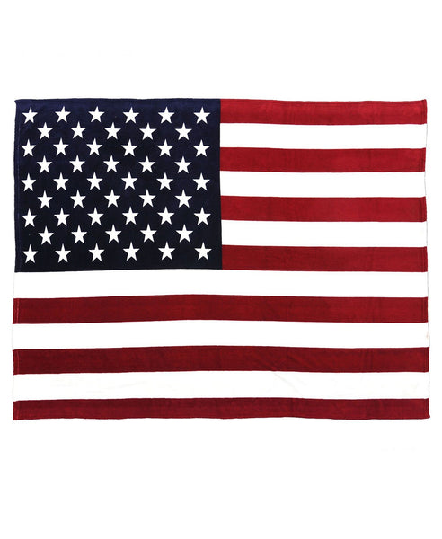USA Flag Afghan Style Hand Woven 100% Fleece Blanket American