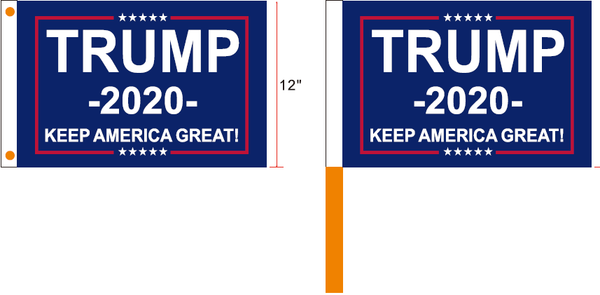 Trump 2020 Keep America First Blue Campaign Flags 12x18 inches 100D Rough Tex ®Boat & Stick