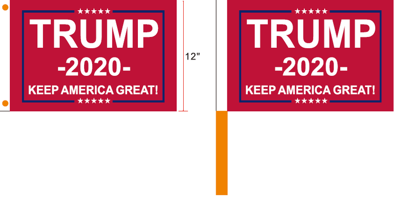 Trump 2020 Keep America First Red Campaign Flags 12x18 inches 100D Rough Tex ®Boat & Stick
