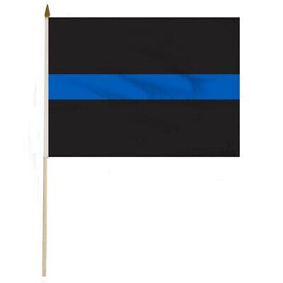 THIN BLUE LINE 12X18 INCH STICK FLAGS POLICE