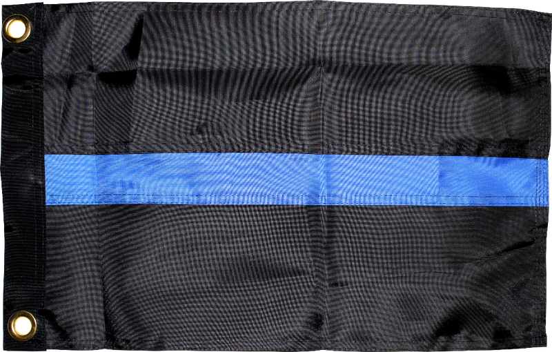 Thin Blue Line Police 12x18 inches Boat Flags Dura-Lite ™ 300D Nylon Boat Flag Embroidered