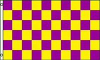 Purple And Gold Checkered 3'X5' Flag