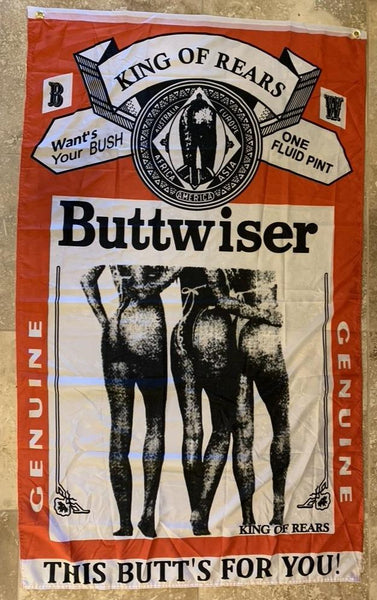 Buttweiser King Of Rears Flag- 3'X5' Rough Tex® 100D