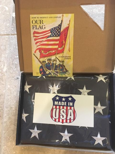 USA BOXED 3'X5' AMERICAN FLAG 600D ROUGH TEX 3 BY 5 FEET GIFT BOX