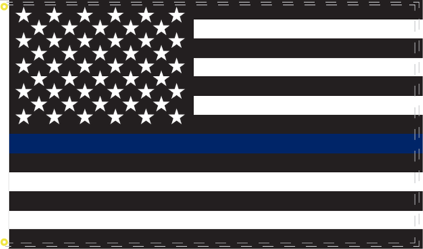 "US Police Memorial Double Knit 12""X18"" Car Flag Rough Tex® 100D"