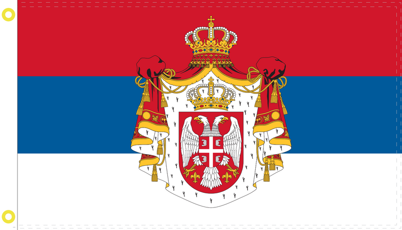 Serbia Royal Flush 1882-1918 3'X5' 3'X5' Flag 100D ROUGH TEX ®