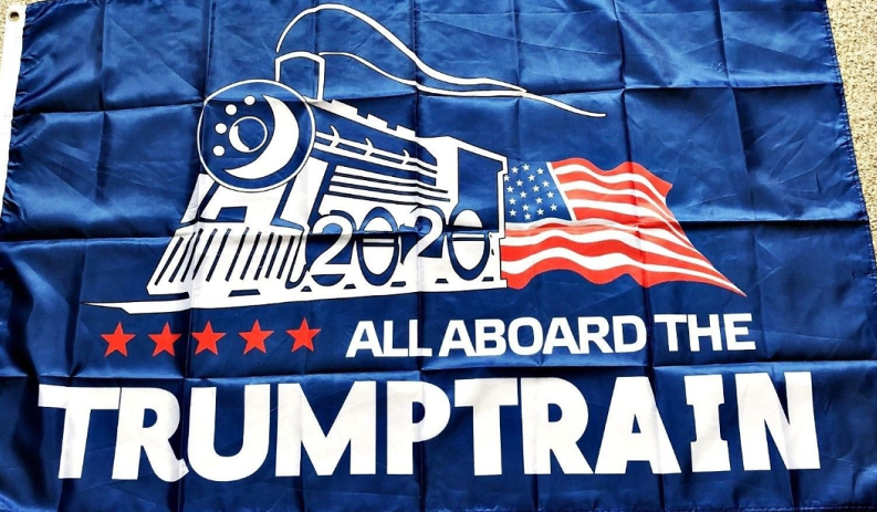 All Aboard The Trump Train Blue Double Sided 3'X5' Rough Tex ® Flag 100D