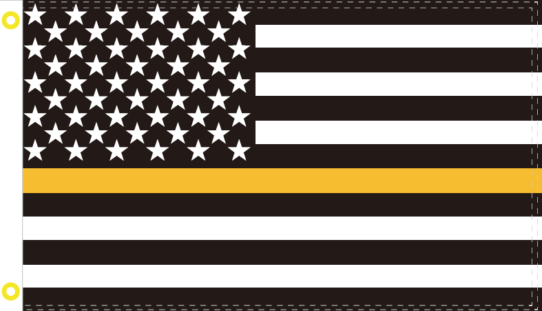BLACK & GOLD US MEMORIAL 3X5 FEET 100D ROUGH TEX ® FLAG
