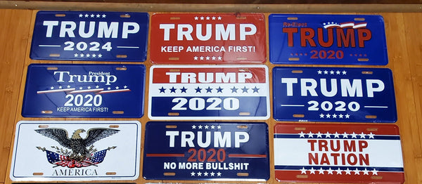 12 Assorted President Trump license plates and USA Collectors Set Auto Tags