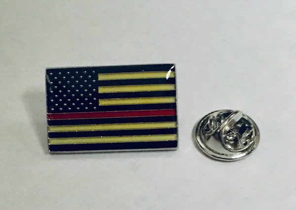 USA Thin Red Line Firefighters- Cloisonne Hat & Lapel Pin