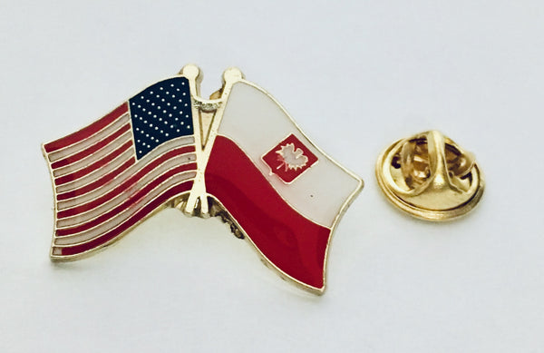 USA Poland State Flag- Cloisonne Hat & Lapel Pin