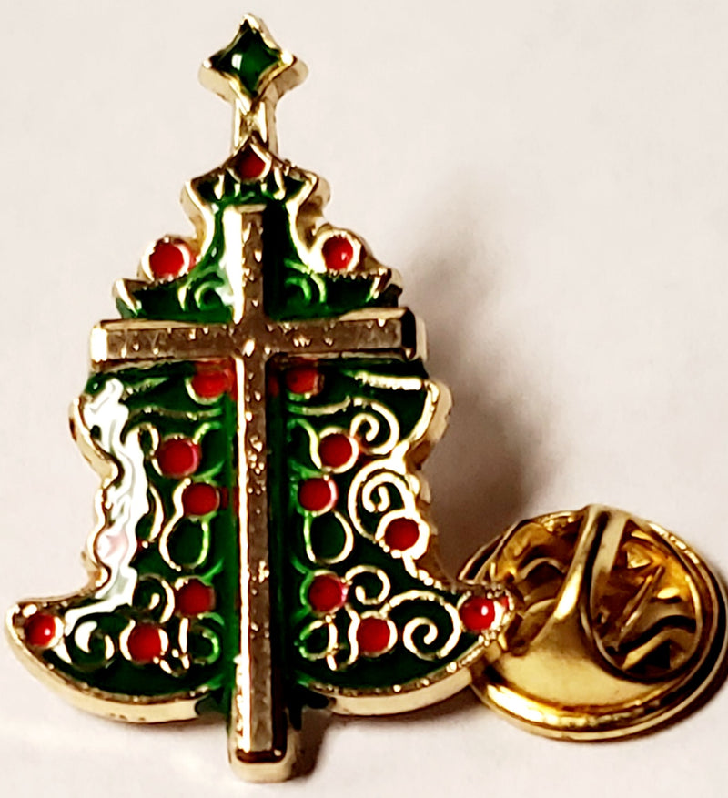 Christian Cross Christmas Tree - Cloisonné Hat & Lapel Pin