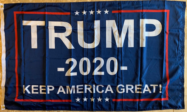TRUMP 2020 KEEP AMERICA GREAT double sided BLUE 3'X5' Rough Tex ® Flags 100D