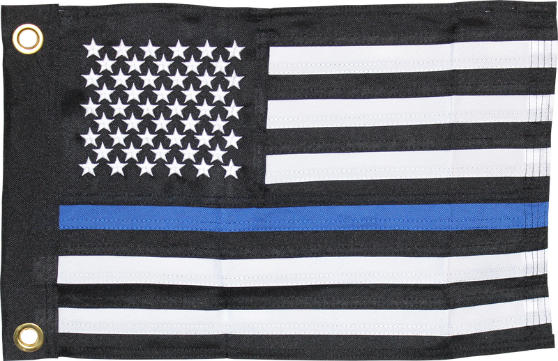"POLICE MEMORIAL BLUE LINE FLAG 12""X18"" DOUBLE SIDED ROUGH TEX®"