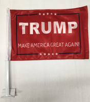 *TEMPORARILY OUT OF STOCK* Trump M A G A Red Double Sided Car Flag- 12''x18'' Rough Tex®